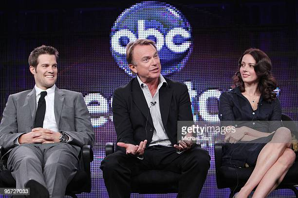 Geoff Stults, Sam Neill and Amy Acker attend the ABC and Disney Winter Press Tour held at The Langham Resort on January 12, 2010 in Pasadena,...