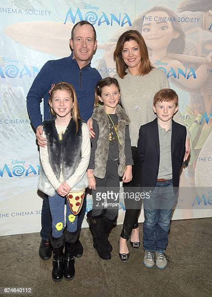 Geoff Tracy Norah O'Donnell and their children Riley Norah Tracy Grace Tracy and Henry Tracy attend the Cinema Society Screening Of Moana at...