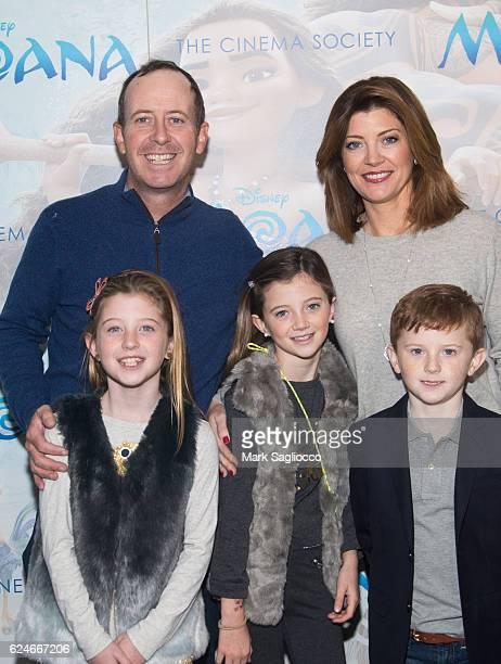 Geoff Tracy Norah O'Donnell Riley Norah Tracy Grace Tracy and Henry Tracy attend the Disney Special Screening Of Moana at Metrograph on November 20...