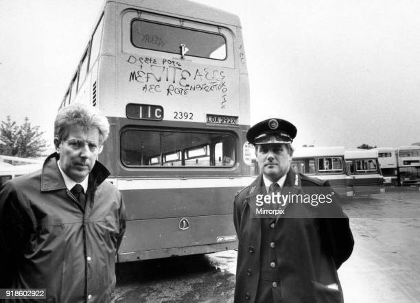 Geoff Wellings President 5/36 Drivers Branch of TGWU and Tony Collins Assistant Secretary of 5/32 Inspectors Branch of TGWU at the Wellhead Lane Bus...