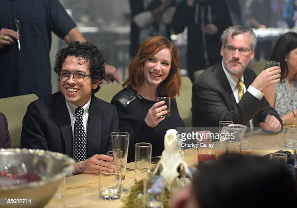 Geoffrey Arend and Aaron Hendricks join Christina Hendricks toast Johnnie Walker Platinum Label at Santa Monica Museum of Art on October 22 2013 in...