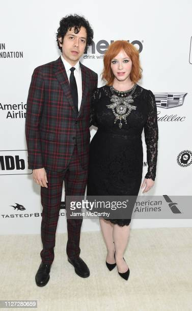 Geoffrey Arend and Christina Hendricks attend the 27th annual Elton John AIDS Foundation Academy Awards Viewing Party sponsored by IMDb and Neuro...