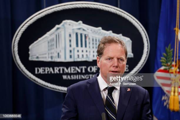 Geoffrey Berman United States Attorney for the Southern District of New York speaks at a press conference about the apprehension of a suspect in the...