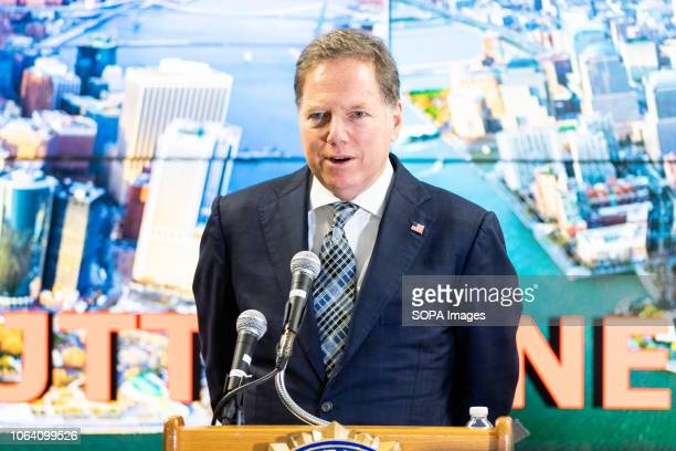 Geoffrey Berman United States Attorney for the Southern District of New York seen speaking at the Joint Terrorism Task Force in New York City