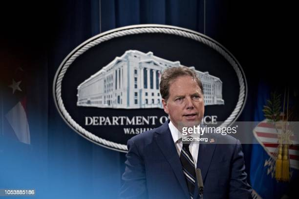 Geoffrey Berman US attorney for the Southern District of New York speaks during a news conference at the Department of Justice in Washington DC US on...