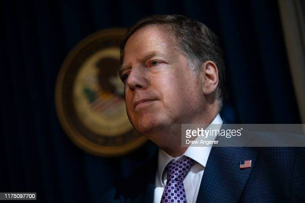 Geoffrey Berman US Attorney for the Southern District of New York attends a press conference at the US Attorneys office of Southern District of New...