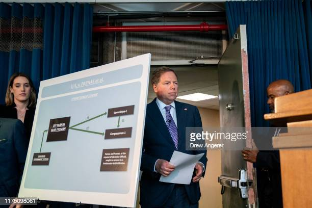 Geoffrey Berman US Attorney for the Southern District of New York arrives for a press conference at the US Attorneys office of Southern District of...