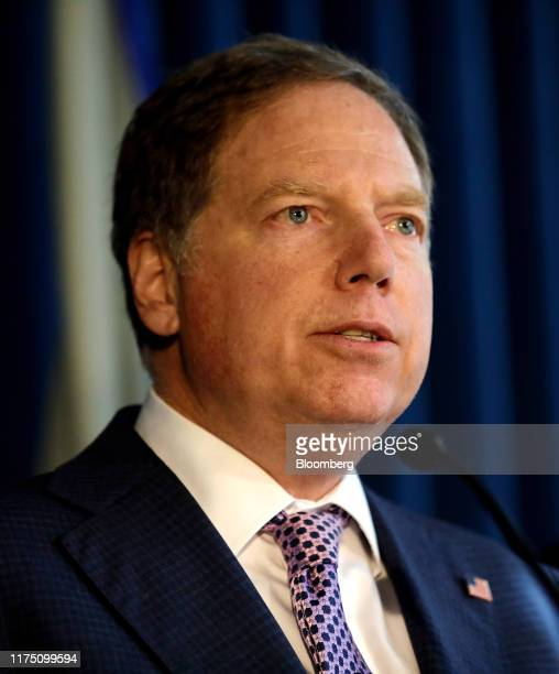 Geoffrey Berman US attorney for the Southern District of New York speaks during a news conference in New York US on Thursday Oct 10 2019 Ukraineborn...