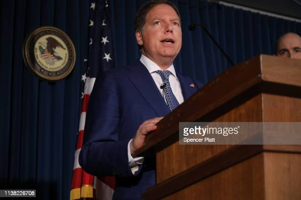 Geoffrey Berman US attorney for the southern district of New York speaks at a news conference on March 25 2019 in New York City Berman announced...