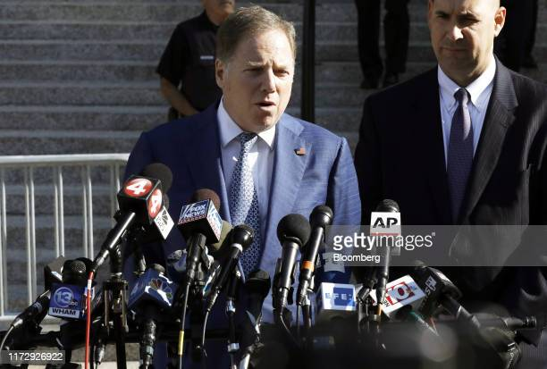 Geoffrey Berman US attorney for the Southern District of New York speak to members of the media following Representative Chris Collins a Republican...