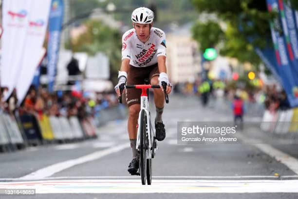 Geoffrey Bouchard of France and AG2R Citröen Team at finish line during the 41st Donostia San Sebastian Klasikoa 2021 a 223,5km race from...