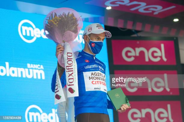 Geoffrey Bouchard of France and AG2R Citröen Team Blue Mountain Jersey during celebrates at podium the 104th Giro d'Italia 2021, Stage 9 a 158km...