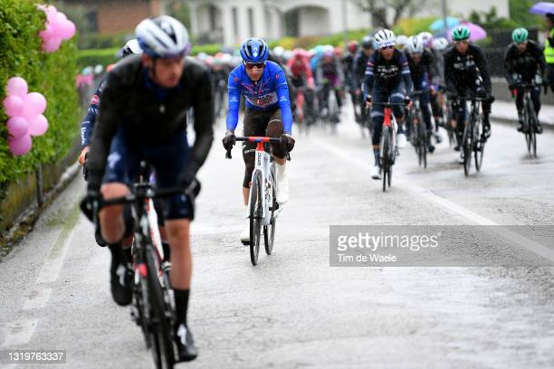 Geoffrey Bouchard of France and AG2R Citröen Team blue mountain jersey during the 104th Giro d'Italia 2021, Stage 16 a 153km stage shortened due to...
