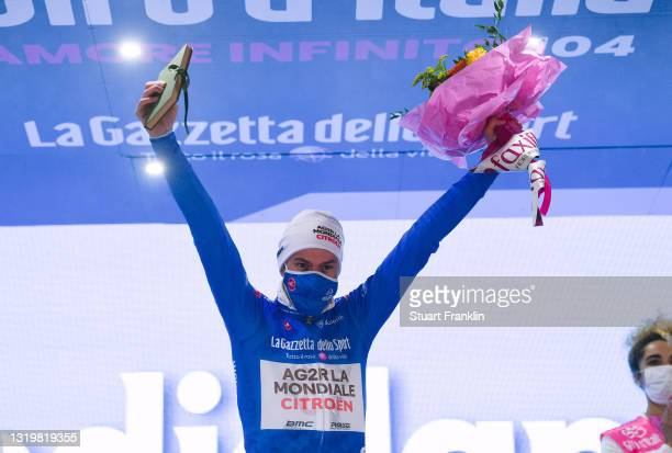 Geoffrey Bouchard of France and AG2R Citröen Team blue mountain jersey celebrates at podium during the 104th Giro d'Italia 2021, Stage 16 a 153km...