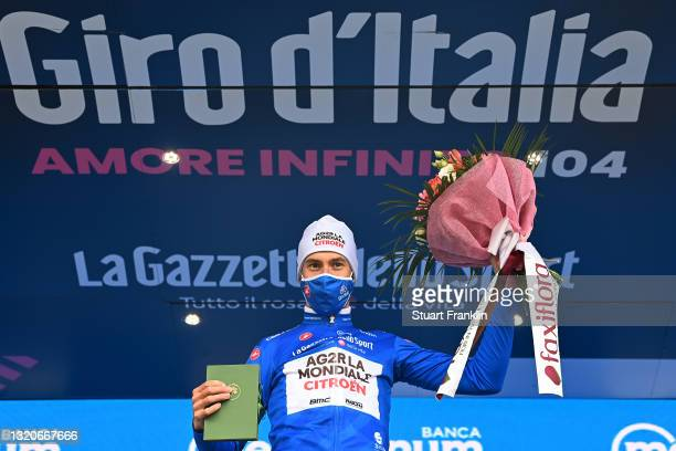 Geoffrey Bouchard of France and AG2R Citröen Team blue mountain jersey celebrates at podium during the 104th Giro d'Italia 2021, Stage 20 a 164km...