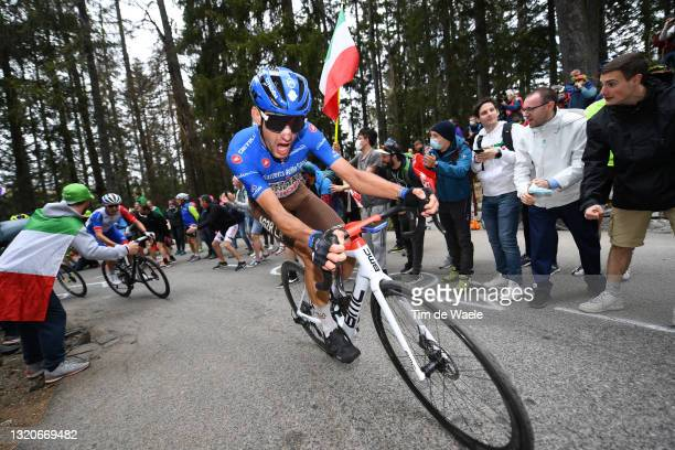 Geoffrey Bouchard of France and AG2R Citröen Team blue mountain jersey passing through Valle Spluga - Alpe Motta mountain during the 104th Giro...