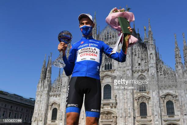 Geoffrey Bouchard of France and AG2R Citröen Team Blue Mountain Jersey celebrates at podium during the 104th Giro d'Italia 2021, Stage 21 a 30,3km...