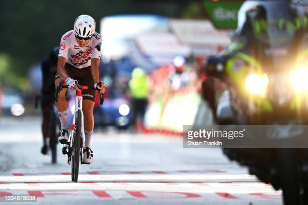 Geoffrey Bouchard of France and AG2R Citröen Team crosses the finishing line during the 76th Tour of Spain 2021, Stage 5 a 184,4km stage from...