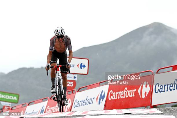 Geoffrey Bouchard of France and AG2R Citröen Team crosses the finishing line during the 76th Tour of Spain 2021, Stage 17 a 185,5km stage from...