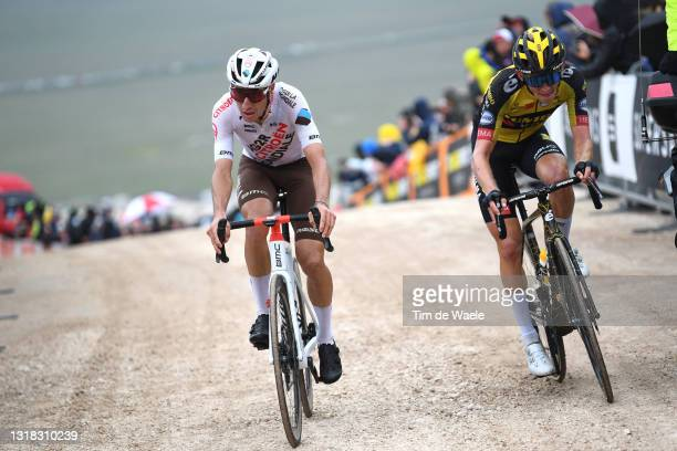 Geoffrey Bouchard of France and AG2R Citröen Team & Koen Bouwman of Netherlands and Team Jumbo - Visma at Campo Felice during the 104th Giro d'Italia...