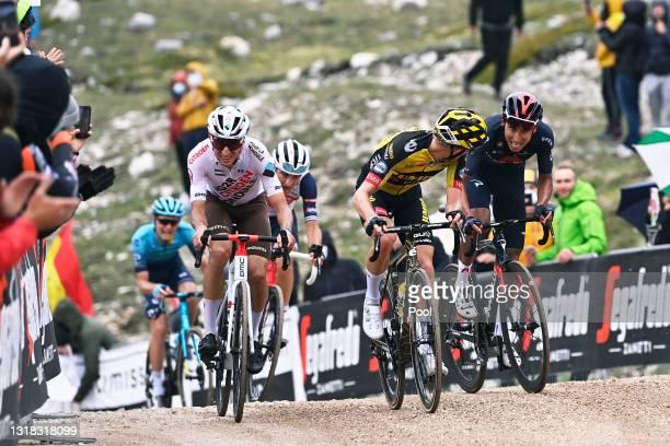 Geoffrey Bouchard of France and AG2R Citröen Team, Koen Bouwman of Netherlands and Team Jumbo - Visma, Aleksander Vlasov of Russia and Team Astana –...