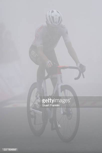 Geoffrey Bouchard of France and AG2R Citröen Team reacts after cross the finishing line during the 76th Tour of Spain 2021, Stage 18 a 162,6km stage...