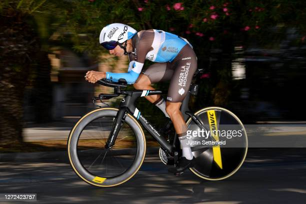 Geoffrey Bouchard of France and Team AG2R La Mondiale / during the 55th Tirreno-Adriatico 2020 - Stage 8 a 10,1km Individual Time Trial in San...