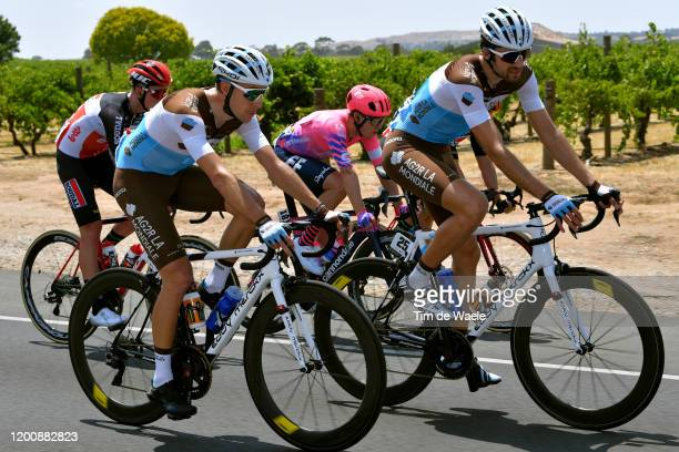 Geoffrey Bouchard of France and Team AG2R La Mondiale / Kristoffer Halvorsen of Norway and Team EF Pro Cycling / Ben Gastauer of Luxembourg and Team...