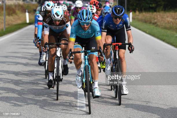 Geoffrey Bouchard of France and Team Ag2R La Mondiale / Manuele Boaro of Italy and Astana Pro Team / Ben O'connor of Australia and NTT Pro Cycling...