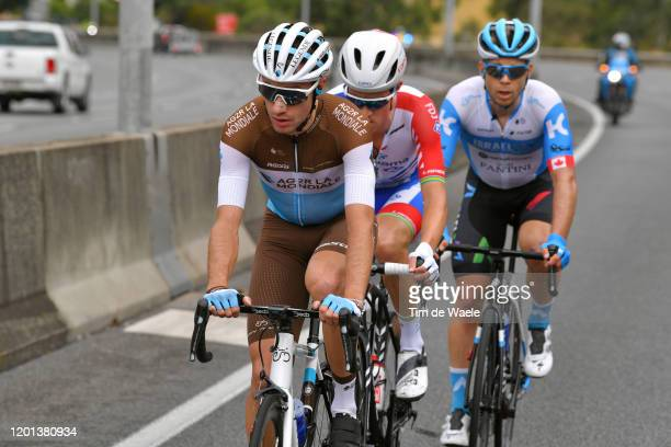 Geoffrey Bouchard of France and Team AG2R La Mondiale / Miles Scotson of Australia and Team Groupama-FDJ / Guillaume Boivin of Canada and Team Israel...