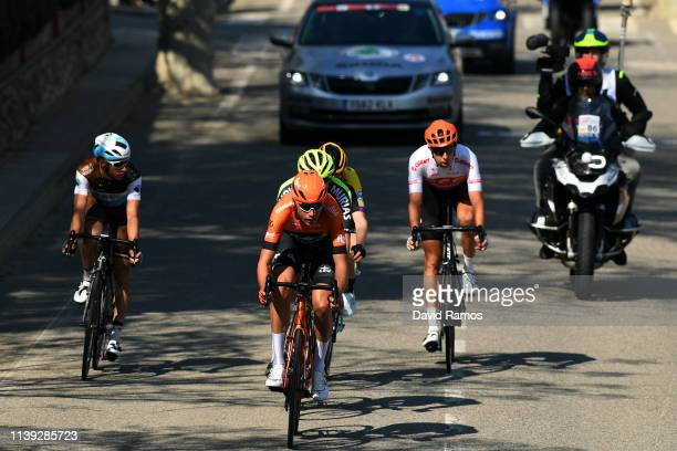 Geoffrey Bouchard of France and Team AG2R La Mondiale / Oscar Riesebeek of The Netherlands and Team RoompotCharles / Floris De Tier of Belgium and...