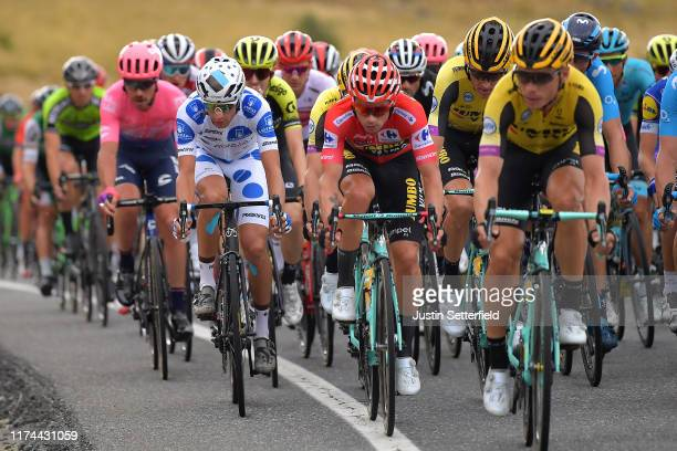 Geoffrey Bouchard of France and Team AG2R La Mondiale Polka Dot Mountain Jersey / Primoz Roglic of Slovenia and Team Jumbo-Visma Red Leader Jersey /...