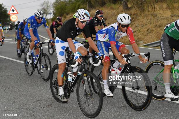 Geoffrey Bouchard of France and Team AG2R La Mondiale Polka Dot Mountain Jersey / Romain Seigle of France and Team Groupama-FDJ / during the 74th...