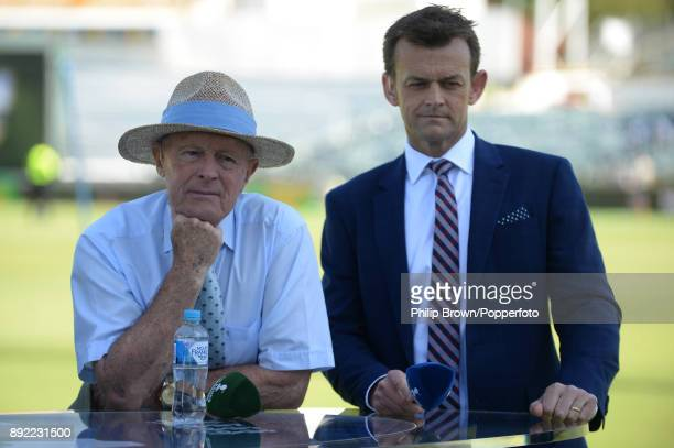Geoffrey Boycott and Adam Gilchrist look on before the first day of the third Ashes cricket test match between Australia and England at the WACA on...