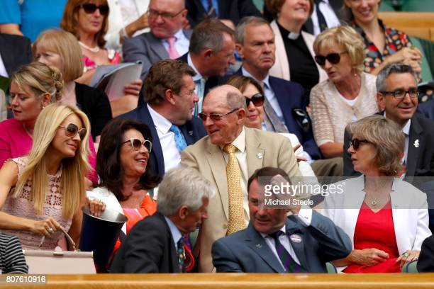 Geoffrey Boycott , his wife Rachael and presenterTess Daly look on from the royal box on centre court on day two of the Wimbledon Lawn Tennis...