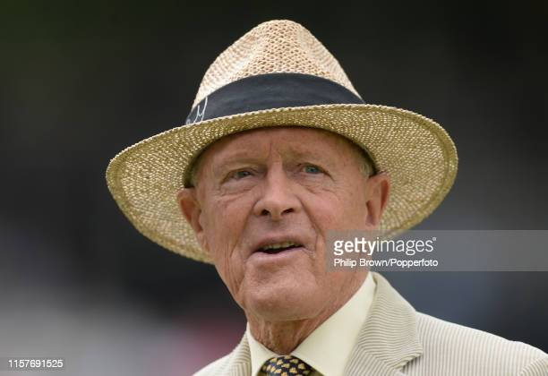 Geoffrey Boycott looks on before the third day of the Specsavers Test Match between England and Ireland at Lord's on July 26, 2019 in London, England.