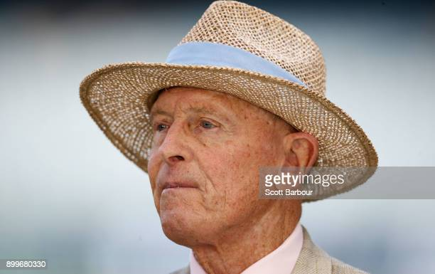 Geoffrey Boycott looks on during day five of the Fourth Test Match in the 2017/18 Ashes series between Australia and England at Melbourne Cricket...