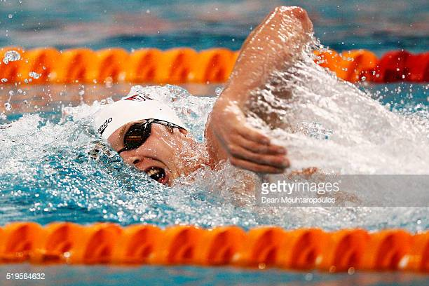 Geoffrey Butler of Great Britain competes in the Men 1500m Freestyle Heats during the 12th annual SwimCup Eindhoven held at Pieter van den Hoogenband...