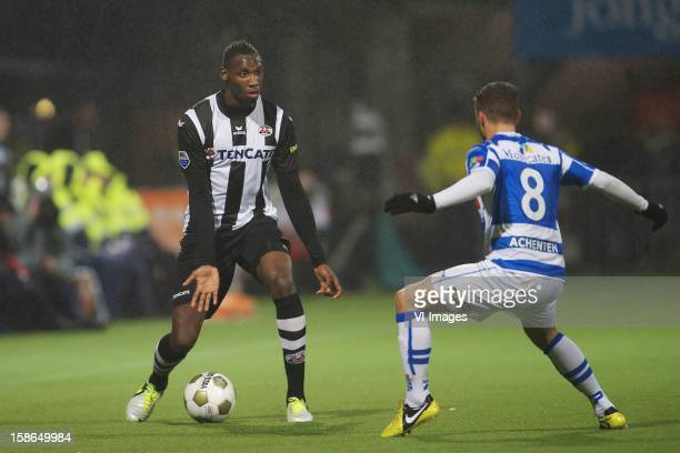 Geoffrey Castillion of Heracles Almelo Christiaan Cicek of PEC Zwolle during the Dutch Eredivise match between Heracles Almelo and PEC Zwolle at the...