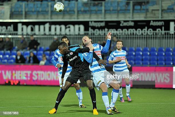 Geoffrey Castillion of Heracles Almelo Joost Broerse of PEC Zwolle during the Dutch Cup match between PEC Zwolle and Heracles Almelo at the...
