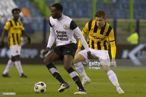 Geoffrey Castillion of RKC Waalwijk JanArie van der Heijden of Vitesse during the Dutch Eredivisie match between Vitesse and RKC Waalwijk at the...