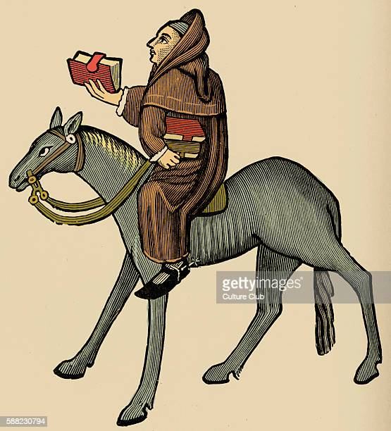 Geoffrey Chaucer s Canterbury Tales The Clerk of Oxford on horseback English poet c 13431400 Ellesmere manuscript of Canterbury Tales