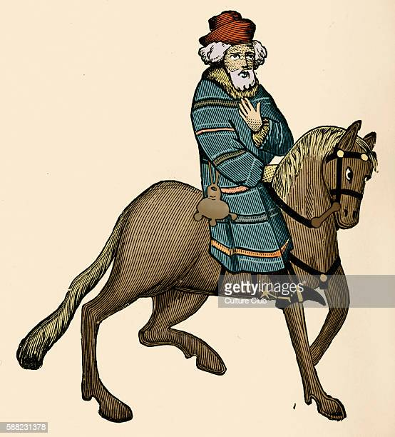 Geoffrey Chaucer s Canterbury Tales The Franklin on horseback English poet c 13431400 Ellesmere manuscript of Canterbury Tales