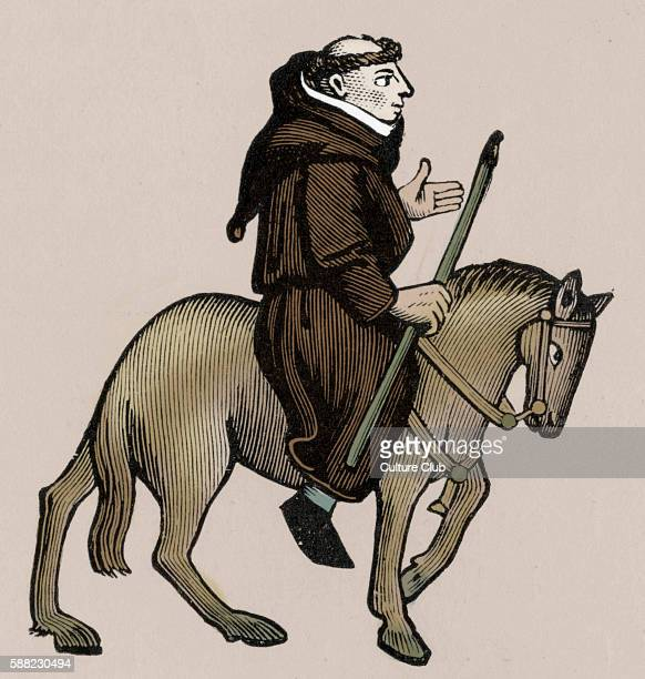 Geoffrey Chaucer s Canterbury Tales The Friar on horseback English poet c 13431400 Ellesmere manuscript of Canterbury Tales