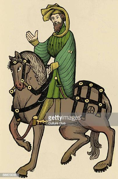Geoffrey Chaucer s Canterbury Tales The Knight on horseback English poet c 13431400 Ellesmere manuscript of Canterbury Tales