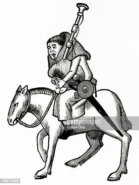 Geoffrey Chaucer s Canterbury Tales The Miller on horseback English poet c 13431400 Ellesmere manuscript of Ccanterbury Tales