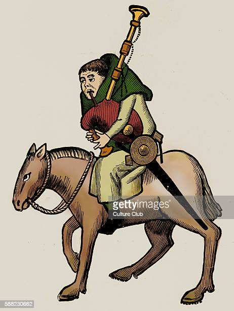 Geoffrey Chaucer s Canterbury Tales The Miller on horseback English poet c 13431400 Ellesmere manuscript of Ccanterbury Tales