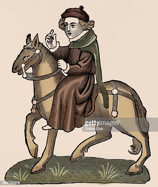 Geoffrey Chaucer s Canterbury Tales The Nun s Priest on horseback English poet c 13431400Ellesmere manuscript of Canterbury Tales