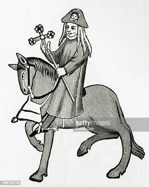 Geoffrey Chaucer s Canterbury Tales The Pardoner on horseback English poet c 13431400 Ellesmere manuscript of Canterbury Tales