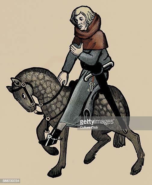 Geoffrey Chaucer s Canterbury Tales The Reeve on horseback English poet c 13431400 Ellesemere manuscript of Canterbury Tales